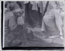 """Kraków. Wnętrze kościoła. Obraz """"Św. Wincenty a Paulo"""" aut. Tadeusza Konicza w ołtarzu bocznym-fragment"""