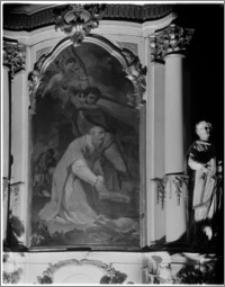 Chełmno. Fara- kościół Wniebowzięcia NMP. Wnętrze-ołtarz boczny z obrazem św. Walentego autorstwa Tadeusza Konicza