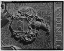 Kraków. Kościół Wniebowzięcia NMP (Bazylika Mariacka). Wnętrze. Kaplica Matki Boskiej Częstochowskiej. Nagrobek Erazma Danigiela-fragment