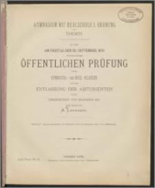 Gymnasium mit Realschule I. Ordnung zu Thorn. Zu der am Freitag den 29. September 1876