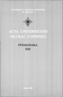 Acta Universitatis Nicolai Copernici. Nauki Humanistyczno-Społeczne. Pedagogika, z. 21 (294), 1995