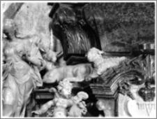 Kraków. Bazylika archikatedralna św. Stanisława i św. Wacława. Wnętrze kaplicy Lipskich pw. śś. Macieja Apostoła i Mateusza Ewangelisty. Fragment nagrobka Jana Aleksandra Lipskiego