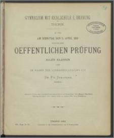 Gymnasium mit Realschule I. Ordnung zu Thorn. Zu der am Dienstag den 5. April 1881