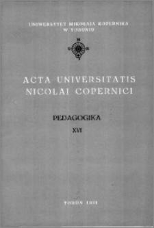 Acta Universitatis Nicolai Copernici. Nauki Humanistyczno-Społeczne. Pedagogika, z. 16 (238), 1991