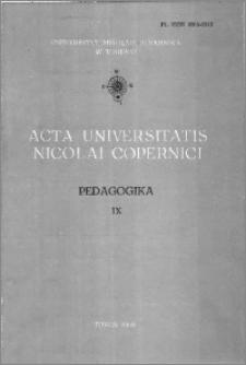 Acta Universitatis Nicolai Copernici. Nauki Humanistyczno-Społeczne. Pedagogika, z. 9 (127), 1982