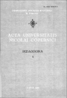 Acta Universitatis Nicolai Copernici. Nauki Humanistyczno-Społeczne. Pedagogika, z. 10 (140), 1983