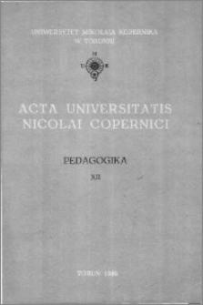 Acta Universitatis Nicolai Copernici. Nauki Humanistyczno-Społeczne. Pedagogika, z. 12 (168), 1986
