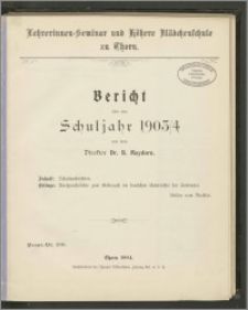 Bericht über das Schuljahr 1903/04