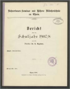 Bericht über das Schuljahr 1907/08