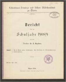 Bericht über das Schuljahr 1908/09