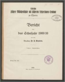 Bericht über das Schuljahr 1909/10