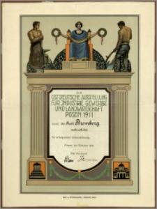 [Dyplom] : [Inc.:] Die ostdeutsche Ausstellung für Industrie, Gewerbe und Landwirtschaft Posen 1911 dankt der Stadt Bromberg verbindlichst für erfolgreiche Unterstützung