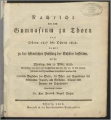 Nachricht von dem Gymnasium zu Thorn von Ostern 1827 bis Ostern 1828