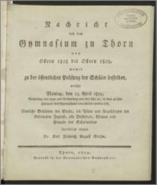 Nachricht von dem Gymnasium zu Thorn von Ostern 1828 bis Ostern 1829