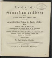 Nachricht von dem Gymnasium zu Thorn von Ostern 1834 bis Ostern 1835