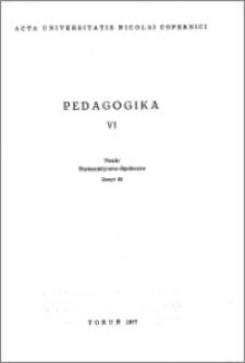 Acta Universitatis Nicolai Copernici. Nauki Humanistyczno-Społeczne. Pedagogika, z. 6 (82), 1977