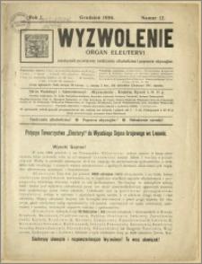 Wyzwolenie - Organ Eleuteryi - miesięcznik poświęcony zwalczaniu alkoholizmu i poprawie obyczajów, Rok I, nr 12