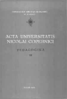 Acta Universitatis Nicolai Copernici. Nauki Humanistyczno-Społeczne. Pedagogika, z. 7 (98), 1978