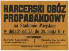 [Afisz] : [Inc.:] Harcerski Obóz Propagandowy na Stadionie Miejskim w dniach od 25. do 28 maja b.r. [Program]