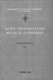 Acta Universitatis Nicolai Copernici. Nauki Humanistyczno-Społeczne. Pedagogika, z. 14 (194), 1990