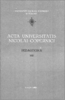 Acta Universitatis Nicolai Copernici. Nauki Humanistyczno-Społeczne. Pedagogika, z. 8 (107), 1980