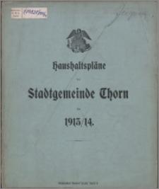 Haushaltspläne der Stadtgemeinde Thorn für 1913-1914