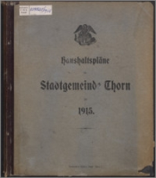 Haushaltspläne der Stadtgemeinde Thorn für 1915