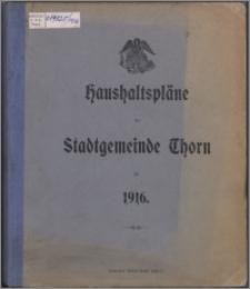 Haushaltspläne der Stadtgemeinde Thorn für 1916