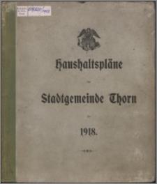 Haushaltspläne der Stadtgemeinde Thorn für 1918