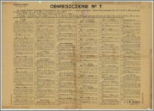 Obwieszczenie nr 7 : Pińsk, dn. 15 grudnia 1927 r.