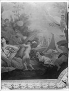 Warszawa. Wilanów. Muzeum Pałacu Jana III. Wnętrze. Fragment plafonu w sypialni króla