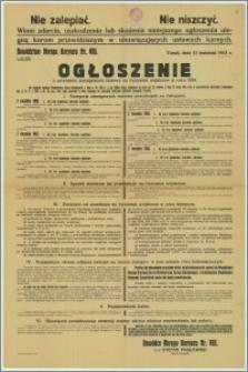 Ogłoszenie o powołaniu szeregowych rezerwy na ćwiczenia wojskowe w 1933 r. : Toruń, 13 kwietnia 1933 r.