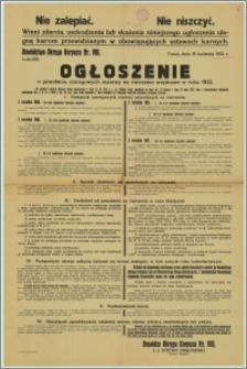 Ogłoszenie o powołaniu szeregowych rezerwy na ćwiczenia wojskowe w 1932 r. : Toruń, 18 kwietnia 1932 r.