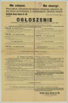 Ogłoszenie o powołaniu szeregowych rezerwy na ćwiczenia wojskowe w 1931 r. : Toruń, 16 kwietnia 1931 r.