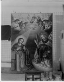 Radzyń Chełmiński. Kościół parafialny pw. Św. Anny. Wnętrze. Ołtarz główny – obraz w zwieńczeniu