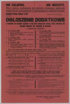 Ogłoszenie dodatkowe : o powołaniu na ćwiczenia wojskowe w 1930 r. szeregowych rezerwy, ktorzy dotychczas nie otrzymali imiennych kart powołania na ćwiczenia - Toruń, 23 lipca 1930 r.