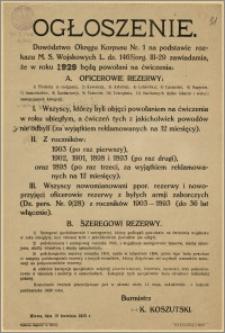 Ogłoszenie : [Inc.:] Dowództwo Okręgu Korpusu Nr 1 na podstawie rozkazu M. S. Wojskowych L. dz. 1465/ org. III - 29 (...), Mława, dnia 19. kwietnia 1929 r.