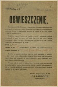Obwieszczenie : [Inc.:] [...] Dodatkowy raport kontrolny dla oficerów rezerwy i pospolitego ruszenia [...], Toruń, dnia 4 września 1925 r. [...] P. K. U. Bydgoszcz ul. gen. Bema [...]