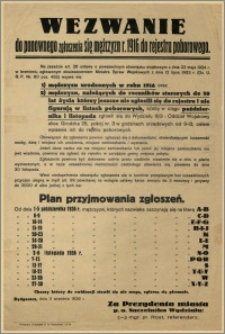 [Obwieszczenie] : Wezwanie do ponownego zgłoszenia się mężczyzn r. 1916 do rejestru poborowego [...]. Bydgoszcz, dnia 11 września 1936 r.