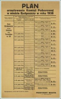 [Obwieszczenie] : Plan urzędowania Komisji Poborowej w mieście Bydgoszczy w 1938 r., Bydgoszcz, dnia 28 kwietnia 1938 r.