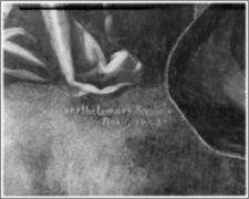 """Radzyń Chełmiński. Kościół parafialny pw. Św. Anny. Wnętrze. Ołtarz główny. Fragment obrazu """"Koronacja Marii ze św. Łukaszem i św. Mikołajem"""" autorstwa Bartłomieja Strobla"""