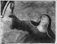 """Stary Sącz. Kościół klarysek św. Trójcy i św. Klary. Wnętrze. Obraz """"Św. Klara"""" w ołtarzu bocznym-fragment, autorstwa Baltazara Fontany"""