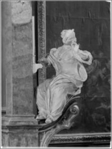Sandomierz. Bazylika katedralna Narodzenia NMP. Wnętrze. Rzeźba św. Cecylii aut. Macieja Polejowskiego pod chórem