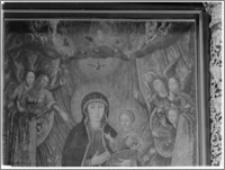 Sieraków – Kościół Pobernardyński Najświętszej Maryi Panny Niepokalanie Poczętej [fragment ołtarza bocznego, Matka Boska na smoku w toczeniu aniołów, autorstwa Krzysztofa Boguszewskiego]