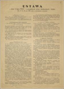 [Obwieszczenie] : [Inc.:] Ustawa z dnia 2. lipca 1924 r. w przedmiocie pracy młodocianych i kobiet