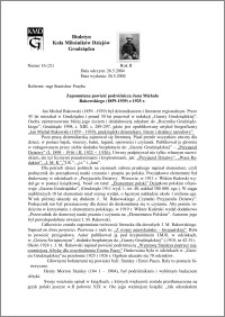 Biuletyn Koła Miłośników Dziejów Grudziądza 2004, Rok 2, nr 16(21) : Zapomniana powieść podróżnicza Jana Michała Rakowskiego (1859-1939) z 1925 r.