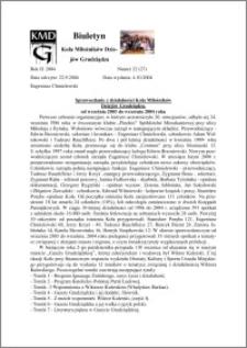 Biuletyn Koła Miłośników Dziejów Grudziądza 2004, Rok 2, nr 22 (27) : Sprawozdanie z działalności Koła Miłośników Dziejów Grudziądza, od września 2003 do września 2004 roku