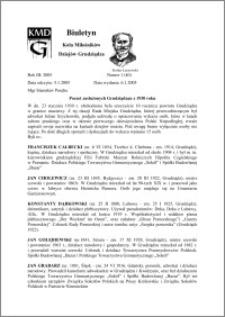 Biuletyn Koła Miłośników Dziejów Grudziądza 2005, Rok 3, nr 1(40) : Poczet zasłużonych Grudziądzan z 1930 roku