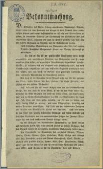 [Obwieszczenie] : [Inc.:] Bekanntmachung der Kgl. Regierung v. Westpreussen betr. freiwillige Sammlungen für die russisch-preuss Belagerungs-Korps vor Danzig. 1813