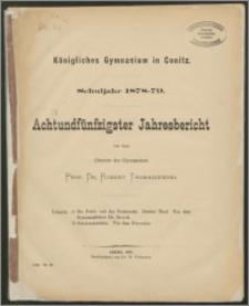 Königliches Gymnasium zu Conitz. Schuljahr 1878/79. Achtundfünfzigster Jahresbericht